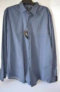 HUGO BOSS MEN'S SLIM FIT BUTTON FRONT BLUE CHECKED DRESS SHIRT XXL NWT