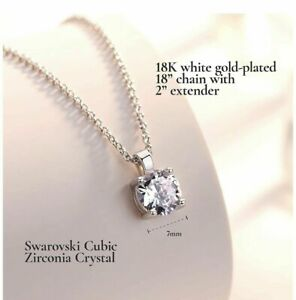 18K-White-Gold-Plated-18-039-039-Silver-Chain-7-MM-Swarovski-Crystal-Pendant-Necklace