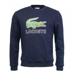 Lacoste Mens Logo Print Sweatshirt SH6382-00 Navy Blue Small