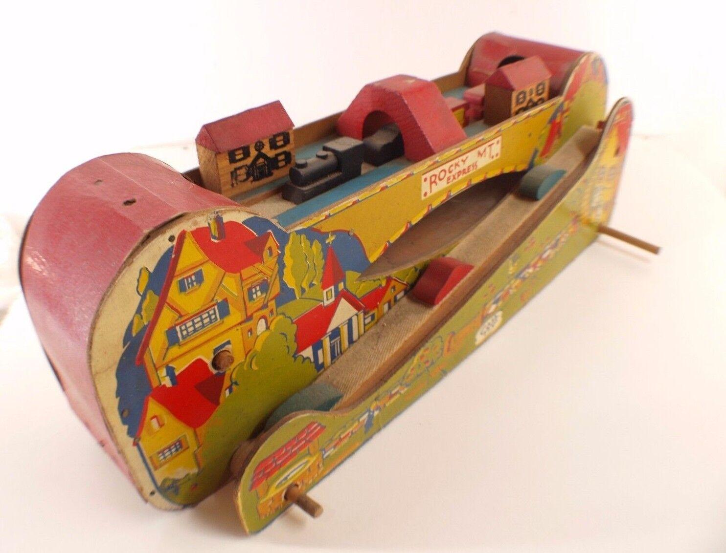 Cass Spielzeug Rocky Express MT Zug aus Holz Antik Antik Antik Jahre 40 50 Länge 48 CM 360bde