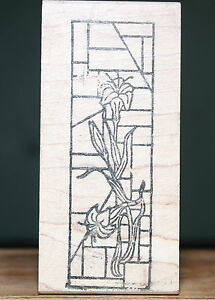 Stained-Glass-Tiger-Lily-Wood-amp-Foam-Backed-Rubber-Stamp