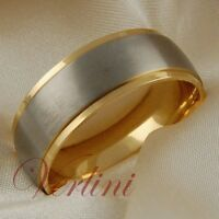 Titanium Mens Ring 14k Gold Wedding Band Matte Top Jewelry Size 6-13