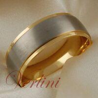 Titanium Mens Ring 14k Gold Wedding Band Matte Top Jewelry Size 6-13