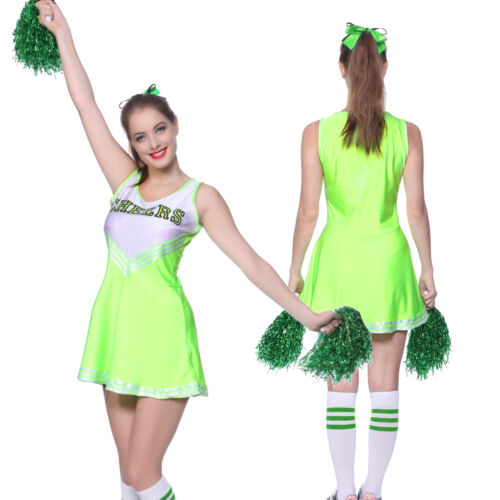 High School Musical Cheer Girl Cheerleader Uniform Costume Outfit w// Pompoms Pro