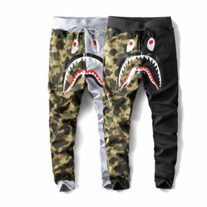 Japan BAPE A Bathing Ape Shark Head Camo Sweatpants Men s Casual ... 5d3edb063189