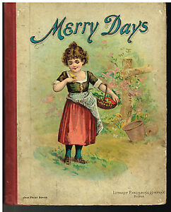 Merry-Days-1897-Lothrop-Publishers-Steel-Engraving-Children-039-s-Book-Rare