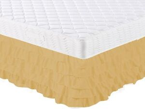 "1PC GOLD GYPCY RUFFLE CASCADE WATERFALL SOLID BED SKIRT 16/"" INCH DROP TWIN"