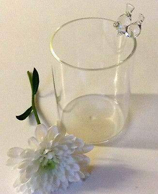 CLEAR GLASS BIRD VASE WITH TWO LOVE BIRDS ON RIM -  8CM DELICATE PRETTY GIFT