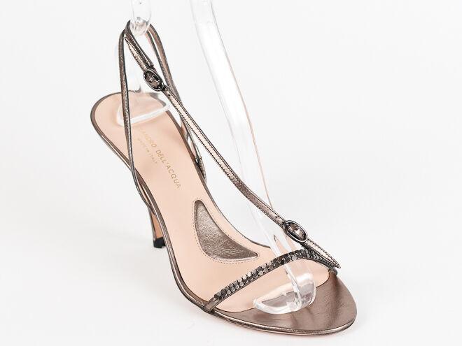 New Alessandro Dell'Acqua Bronze Leather Sandals Size 38 US 8
