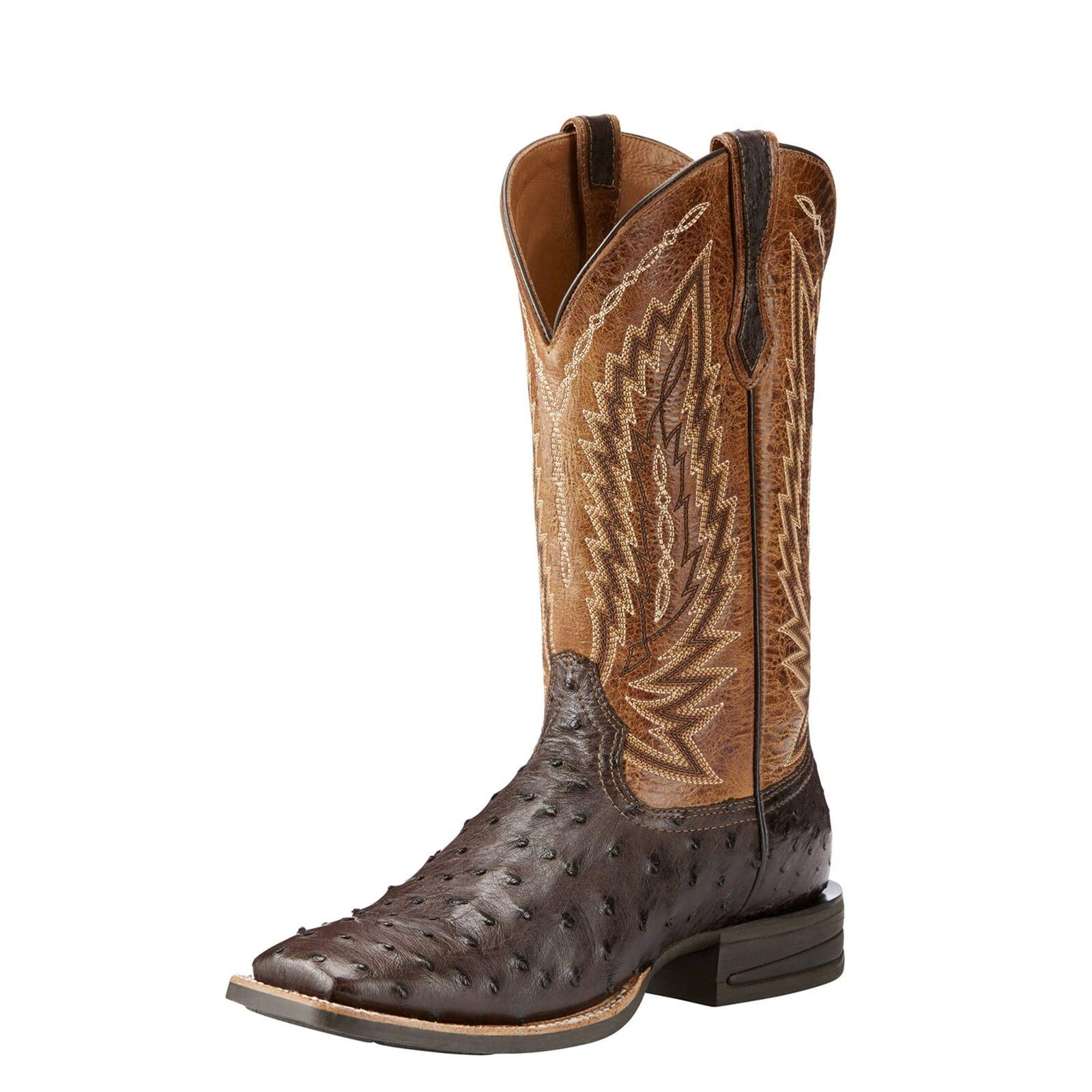 Ariat 10025180 Men Relentless Platinum Tabacco Full Quill Ostrich Western stivali