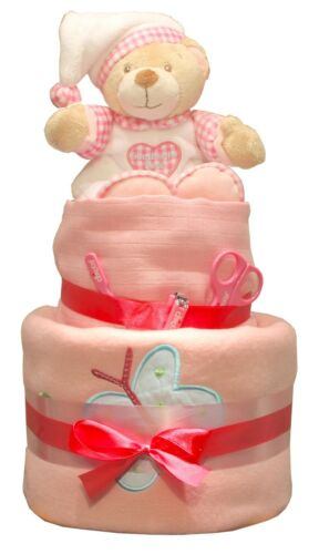 Deluxe Baby Nappy Cake Cute Goodnight Bear 2 Tier Baby Shower Gift Present