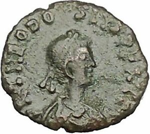 THEODOSIUS-II-425AD-Authentic-Ancient-Roman-Coin-Wreath-cross-within-i51078