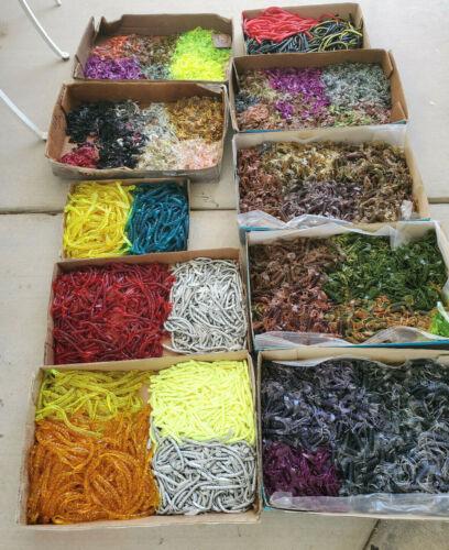 Preferred Plastics- 1000 Qty Plastic worms MIX Sizes Fishing Tackle Lot