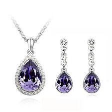 Purple Water Drop Rhinestones Jewellery Set Drop Earrings & Necklace S503