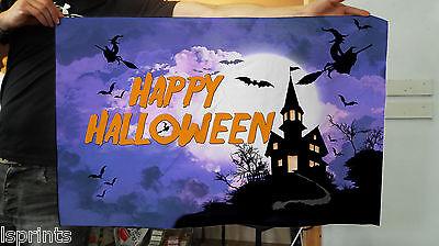 0,9 X 0,6 M Banner Happy Halloween Blu Bandiera Decorazione Spaventoso & 4