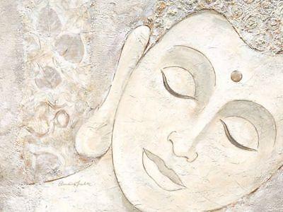 Claudia Ancilotti: Happiness 60x80 Keilrahmen-Bild Leinwand Buddha grau