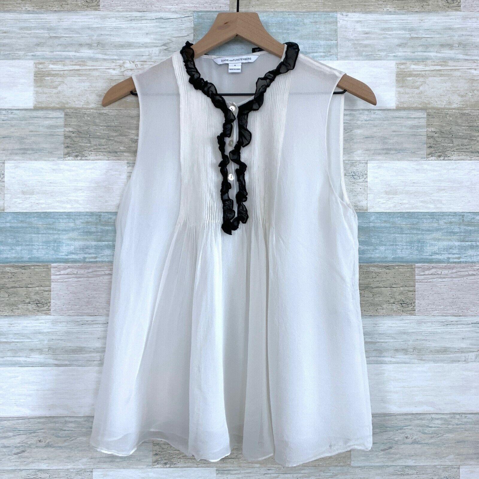 Diane Von Furstenburg Betsy Silk Tuxedo Blouse Bl… - image 2