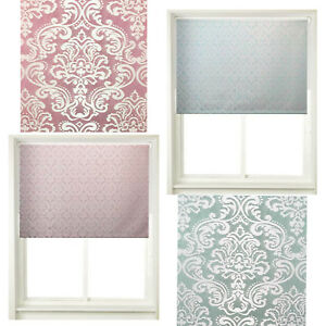 Home Decor Easy To Fit Window Blinds Damask Roller Blind Mauve