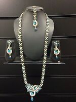 Long Indian Necklace Earrings Tikka Jewellery Set Navy Blue Red Green Gold