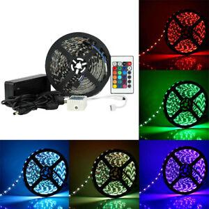 RGB-5M-300-LED-Strip-Light-Black-PCB-5050-Waterproof-12V-Power-24Keys-Remote
