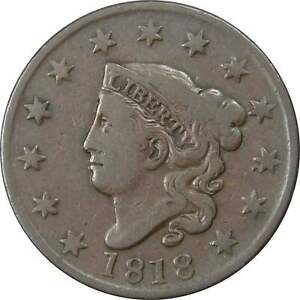 1818-1c-Coronet-Head-Large-Cent-Penny-Coin-VF-Very-Fine