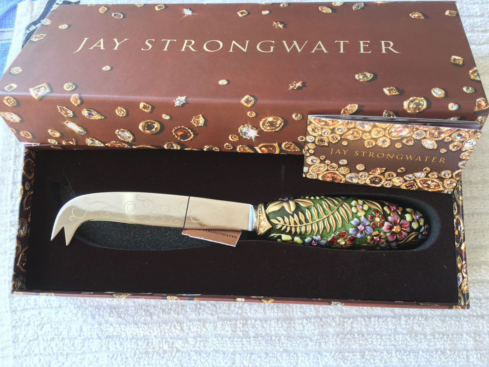 New in Box Jay Strongwater fromage Couteau Multi-couleur cristaux swarovski rare