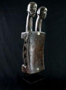 Arte Africano - Eccezionale Sgabello O Supporto Collo Dan Guéré Su Base - 63 CMS