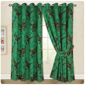 Jurassic-Predators-World-Raptors-66-x-72-034-Drop-Eyelet-Curtains-Matches-Bedding
