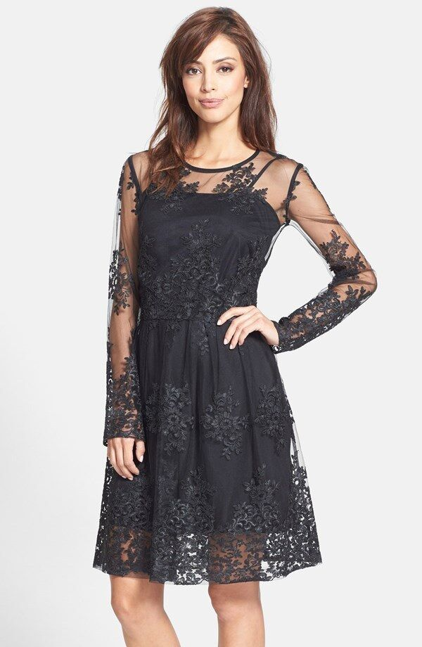 Taylor Dresses Embroidered Mesh Fit & Flare Dress (Size 2)