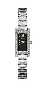 Bulova-Women-039-s-Quartz-Crystal-Accents-Markers-Black-Dial-15mm-Watch-96L202