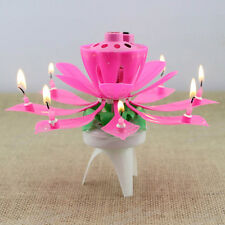 Lotus Flower Musical Play Happy Birthday Song Candle Party Decoration Gift Pink