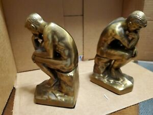 Vintage-Rodan-039-s-The-Thinker-Brass-Bronze-Over-Cast-Iron-Bookends-Very-Heavy
