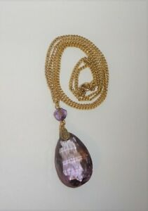 Art-Deco-12K-Gold-Filled-Amethyst-Glass-Faceted-Drop-Pendant-Necklace