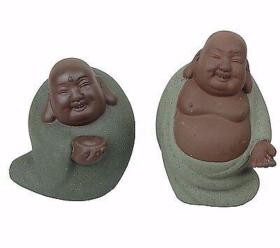 "4/"" Vintage Chinese Happy Sitting Laughing Budai Buddha God Monk Resin Scrimshaw"
