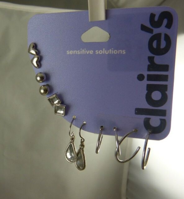 Claires sensitive solutions silver tone silvertone earrings 6 assorted pairs