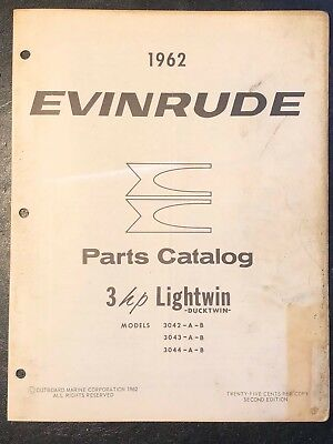 1962 Evinrude Lightwin Ducktwin 3, 3042, 3043, 3044 Outboard Motor Parts Catalog