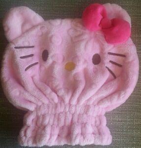 NEW Hello Kitty Fleece Hair Drying Towel Cap Great Gift Soft