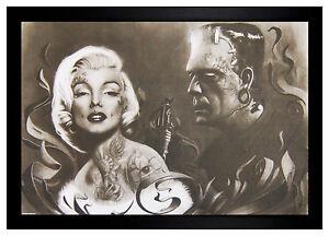Frankenstein tattooing marilyn monroe 24x36 framed poster for Marilyn monroe with tattoos poster