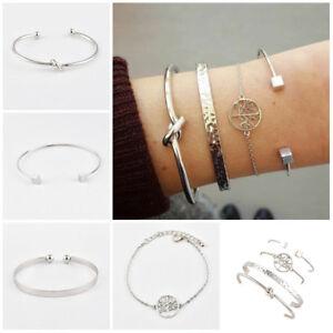 Fashion-New-Women-039-s-Knotted-4Pcs-Open-Bracelet-set-Suit-Alloy-Bangle-Jewelry-Set