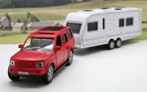 Personalised-Plates-Boys-Kids-Toy-Dad-Model-Diecast-Red-4x4-Car-amp-Caravan-Boxed