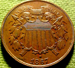1867 Two Cent Piece 2c ~BETTER DATE~ HIGHER GRADE COlN w/ SOLID DETAILS ~ 10PA