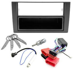 Radio-Blende-Adapter-Kabel-Set-Aktivsystem-ISO-fuer-Audi-A6-4B-C5-Phantomspeisung