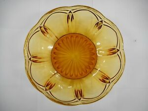ART-DECO-AMBER-GLASS-BOWL-WITH-MOLDED-DECORATION-DEPRESSION-GLASS