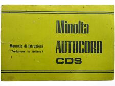 Libretto istruzioni Minolta Autocord CDS in italiano. Manuale utente.