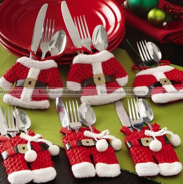 6 Pcs Christmas Decorations Happy Santa Silverware Holders Pockets Dinner Decor
