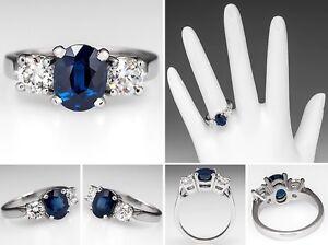 18Carat-White-Gold-Oval-Blue-Sapphire-amp-Diamond-Trilogy-3-Stone-Ring-Hallmarked