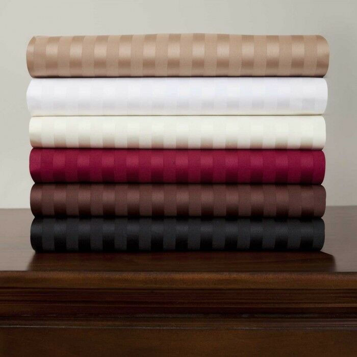 6 Pc Bed Sheets 1200TC Egyptian Cotton US Olympic Queen Size Striped colors