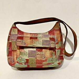 Vintage-Small-FOSSIL-Shoulder-Bag-Printed-Leather-Organizer