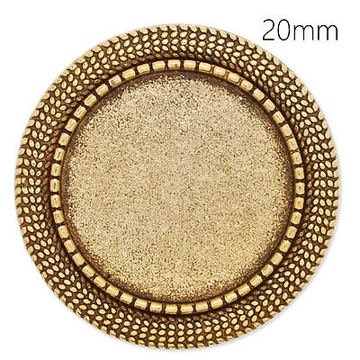 Round Shallow Bezel Brooch Pin Blank Bases Safety Brooch Findings 20MM 10Pcs