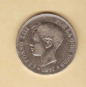 Spain-1897-King-ALFONSO-XIII-5-Pesetas-Spanish-coin-Silver-CROWN